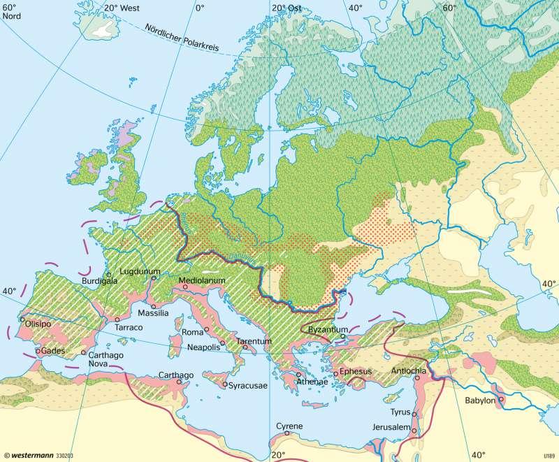Europa | Bodennutzung vor 2000 Jahren | Europa - Vegetation und Landwirtschaft | Karte 117/3