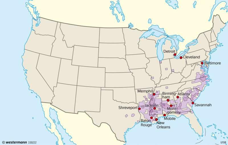USA | Bevölkerungsgruppen | USA - Entwicklung zum Einwanderungsland | Karte 222/4