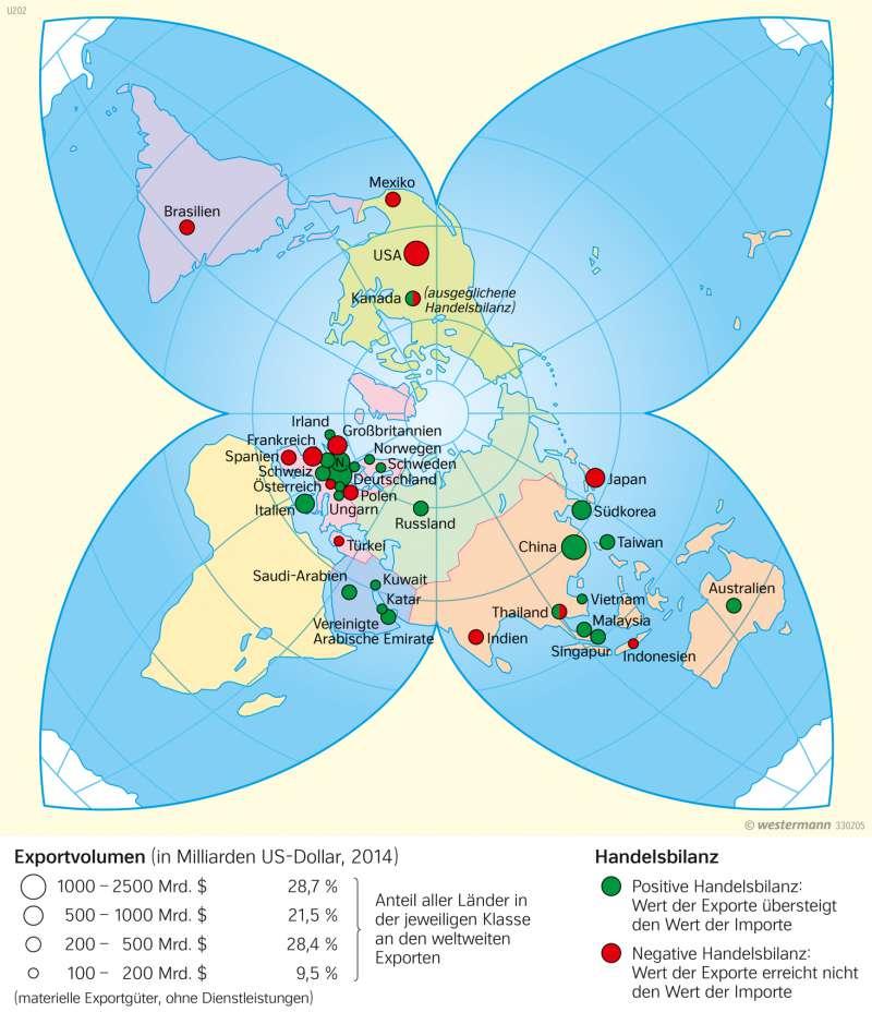 Die größten Exportnationen |  | Erde - Wirtschaftskraft und Welthandel | Karte 43/4