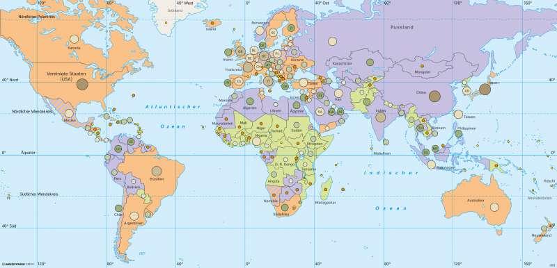 Erde | Wirtschaftskraft pro Land | Erde - Wirtschaftskraft und Welthandel | Karte 42/1