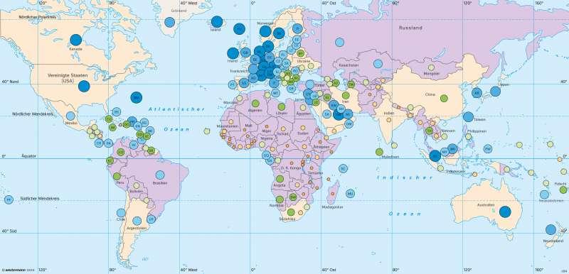 Erde | Wirtschaftskraft pro Einwohner | Erde - Wirtschaftskraft und Welthandel | Karte 42/2