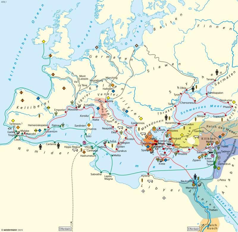 Europa | Phönikische und griechische Kolonisation | Europa - Antike | Karte 100/1