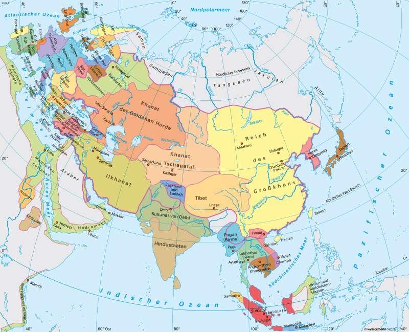 Asien   Reiche um 1300   Asien - Staaten und Geschichte   Karte 154/2
