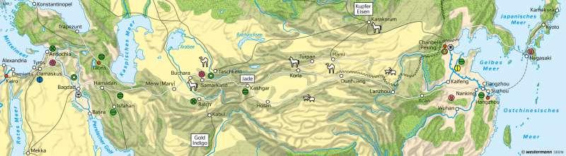 Zentralasien | Seidenstraße zur Zeit Marco Polos (1254-1324) | Asien - Staaten und Geschichte | Karte 155/3