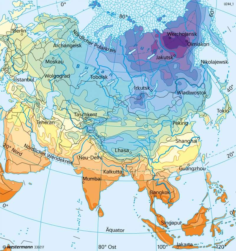 Asien | Temperaturen im Januar | Asien - Landwirtschaft und Klima | Karte 157/2