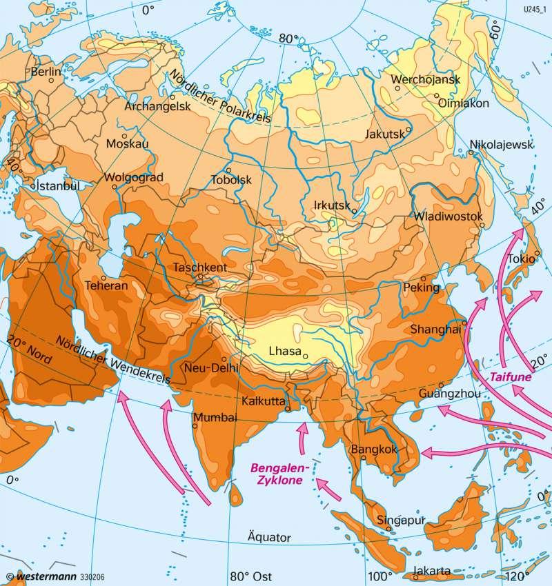 Asien | Temperaturen im Juli | Asien - Landwirtschaft und Klima | Karte 157/3