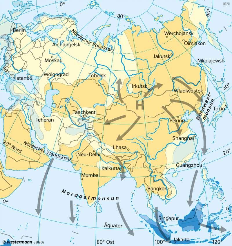 Asien | Niederschläge und Winde im Januar | Asien - Landwirtschaft und Klima | Karte 157/4