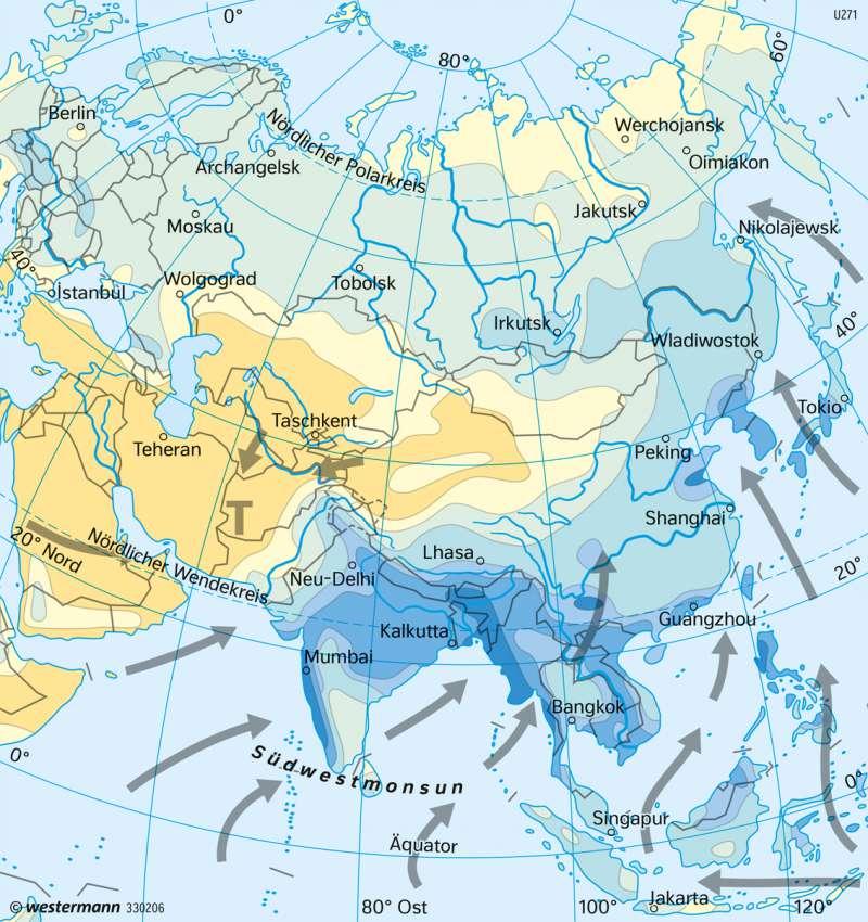 Asien | Niederschläge und Winde im Juli | Asien - Landwirtschaft und Klima | Karte 157/5