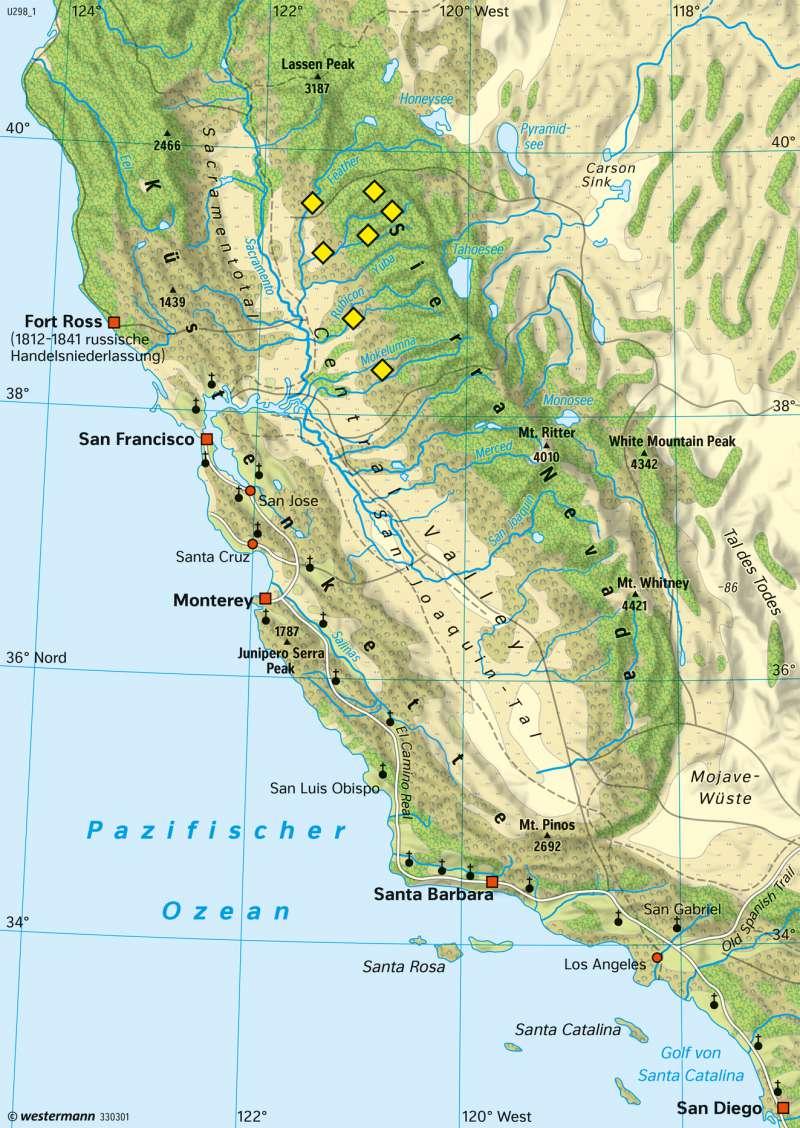 Kalifornien | Erschließung und Besiedlung bis 1850 | Kalifornien (USA)/Mexiko - Tallandschaften im Wandel | Karte 226/1