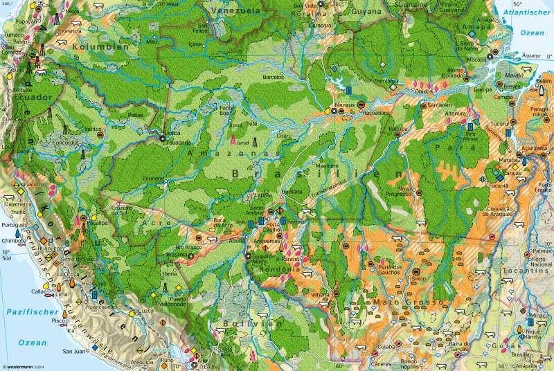 Amazonien | Eingriffe in den tropischen Regenwald | Amazonien - Tropischer Regenwald | Karte 233/4