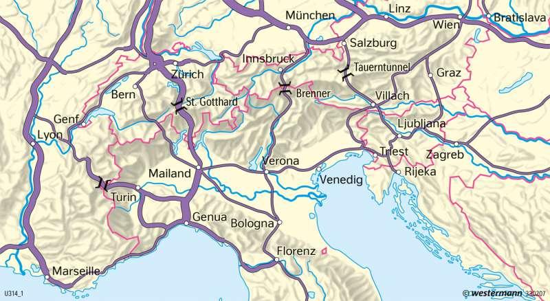 Alpen   Alpentransit   Alpen - Tourismus   Karte 94/2