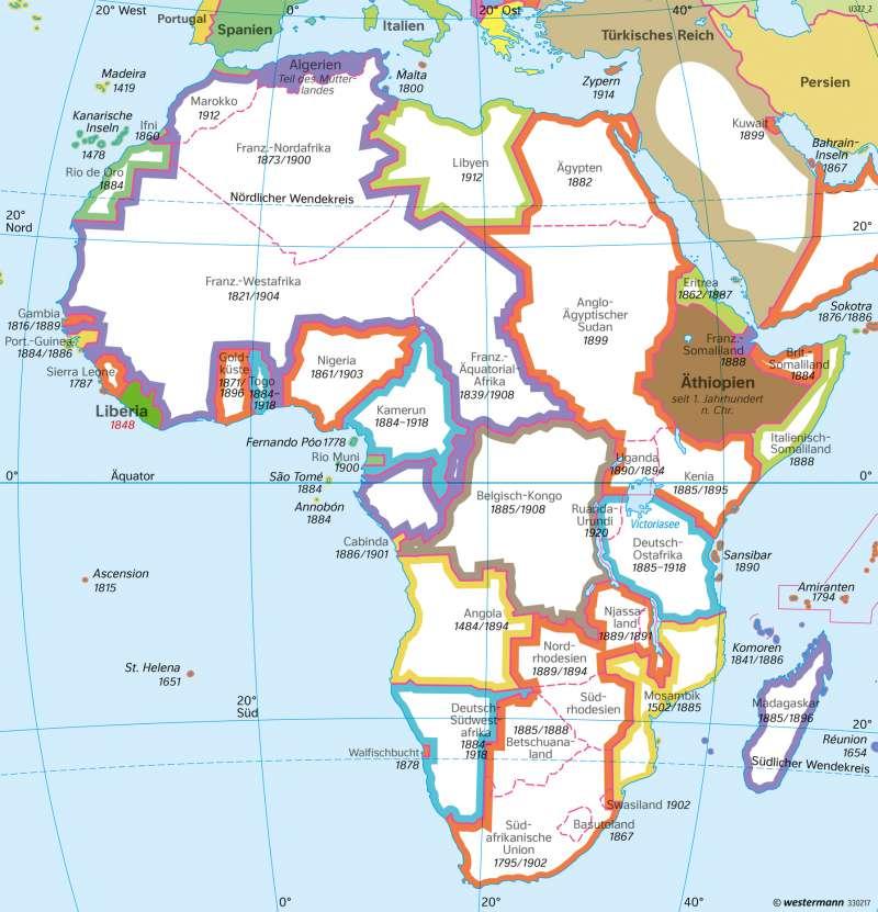 Afrika   1914/1918   Afrika - Staaten und Geschichte   Karte 184/2
