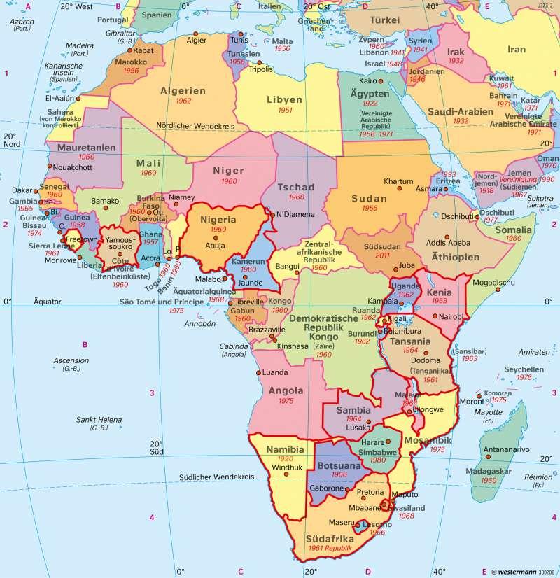 politische karte afrika Diercke Weltatlas   Kartenansicht   Afrika   Politische Übersicht