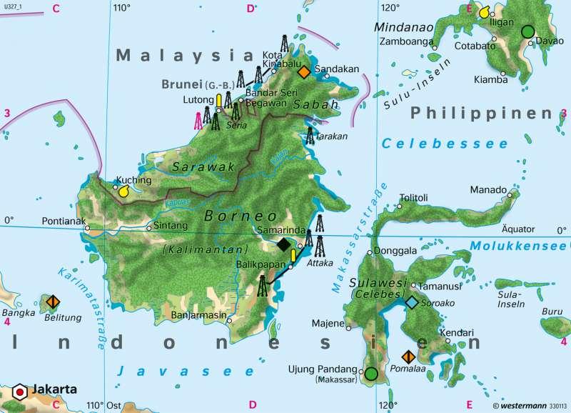 Borneo | Wirtschaft 1980 | Wirtschaft und Landschaftswandel | Karte 173/2