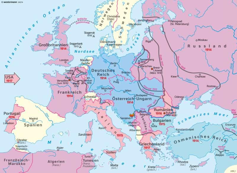Europa | Deutschland im Europa des Ersten Weltkrieges (28.7.1914-11.11.1918) | Deutschland - Staatlicher Wandel 1815–1932 | Karte 67/3