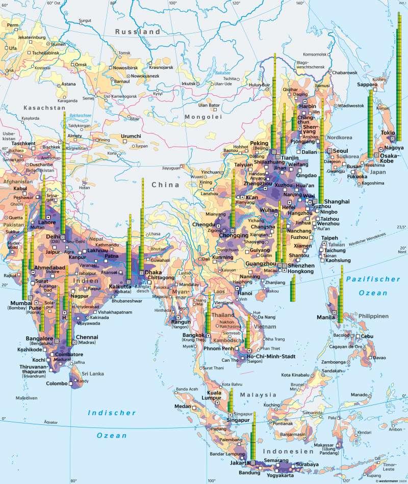 Süd-, Ost-, und Südostasien   Bevölkerungsschwerpunkte Asiens   China   Karte 167/2