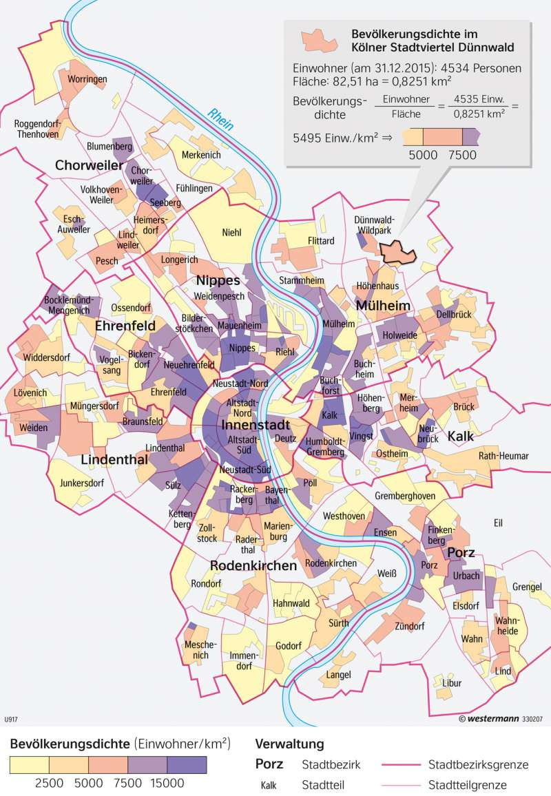 Köln Karte Deutschland.Diercke Weltatlas Kartenansicht Köln Bevölkerungsdichte 978