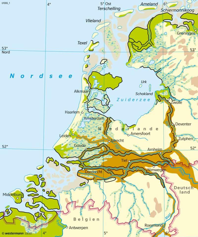 Niederlande | Küstenschutz um 1300 | Leben mit dem Wasser | Karte 133/2