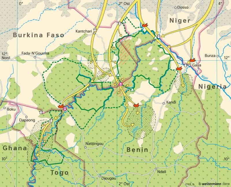 Sahel-Zone | Halbnomadismus der Fulbe | Afrika - Sahara und Sahel | Karte 189/5