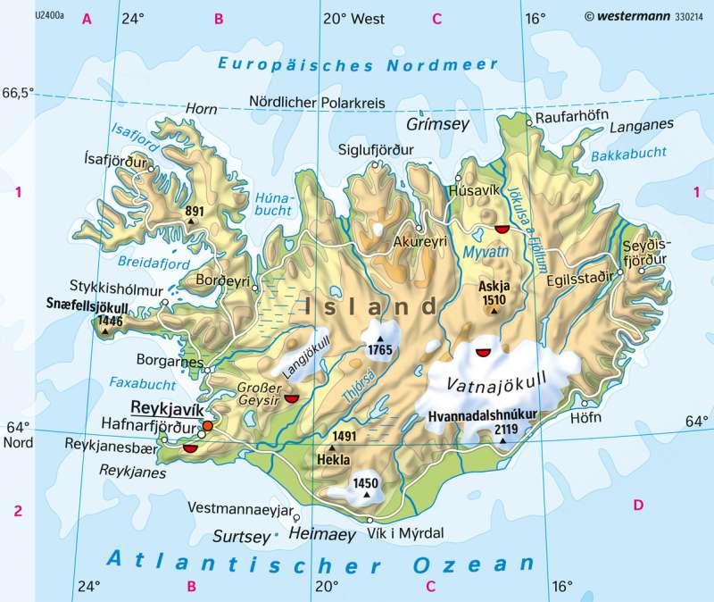 Diercke Weltatlas Kartenansicht Island Physische Karte 978
