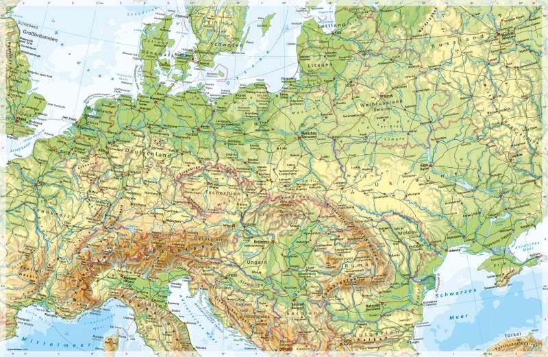 Mitteleuropa | Physische Karte | Mitteleuropa - Physische Karte | Karte 134/1