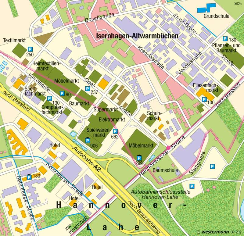 Altwarmbüchen | Fachmarktzentrum | Region Hannover | Karte 36/2