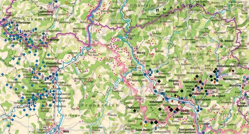Saarland, Lothringen, Luxemburg | Wirtschaft 1957 | Europaregion Saar-Lor-Lux - Strukturwandel | Karte 46/1