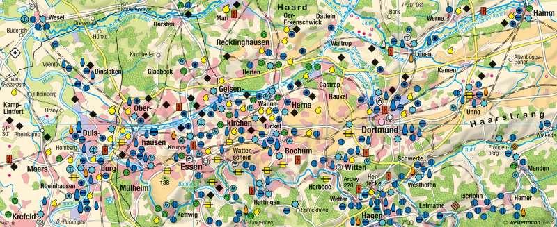 Karte Ruhrgebiet Städte.Diercke Weltatlas Kartenansicht Ruhrgebiet Um 1960 978 3 14