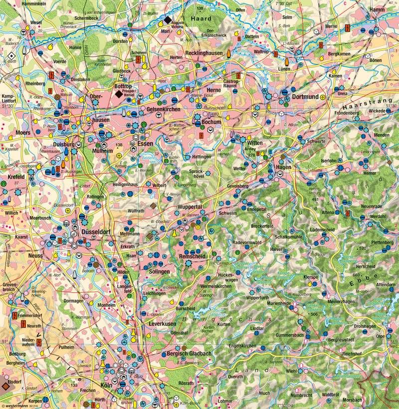 Rheinisch-Westfälisches Industriegebiet | 2015 | Ballungsraum Rhein-Ruhr - Strukturwandel | Karte 40/2