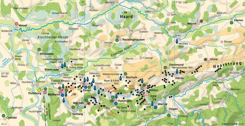Ruhrgebiet   Strukturwandel   Deutschland - Industrialisierung   Karte 87/3