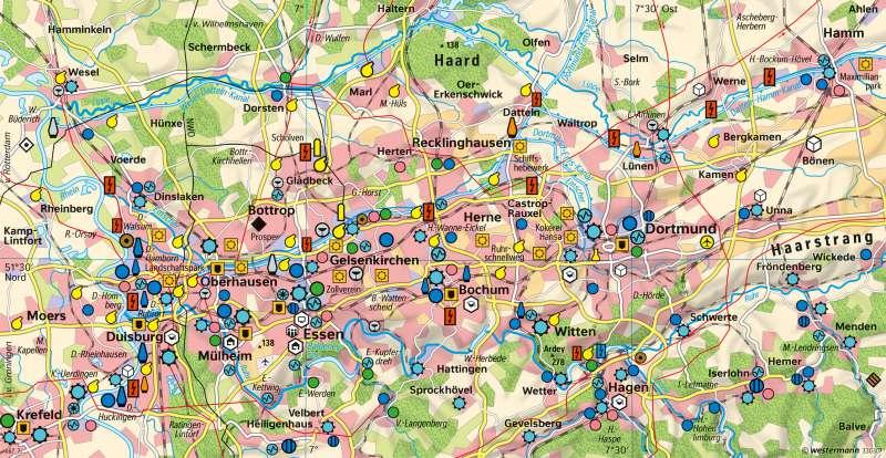 Ruhrgebiet | Strukturwandel | Deutschland - Industrialisierung | Karte 87/3