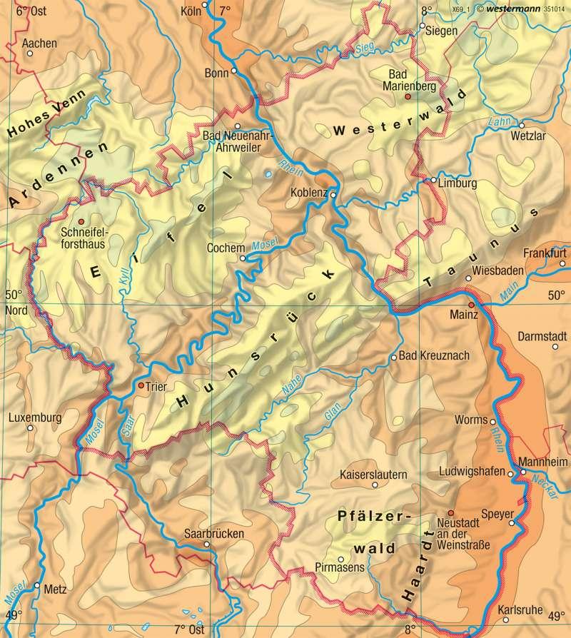 Rheinland-Pfalz | Temperaturen im Jahr | Landwirtschaft und Klima | Karte 17/3