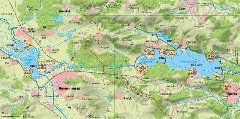 Fränkisches Seenland | Wasserwirtschaft und Tourismus | Tourismus | Karte 19/2