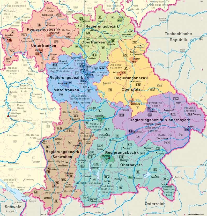 Karte Bayern.Diercke Weltatlas Kartenansicht Bayern Verwaltung 978 3 14
