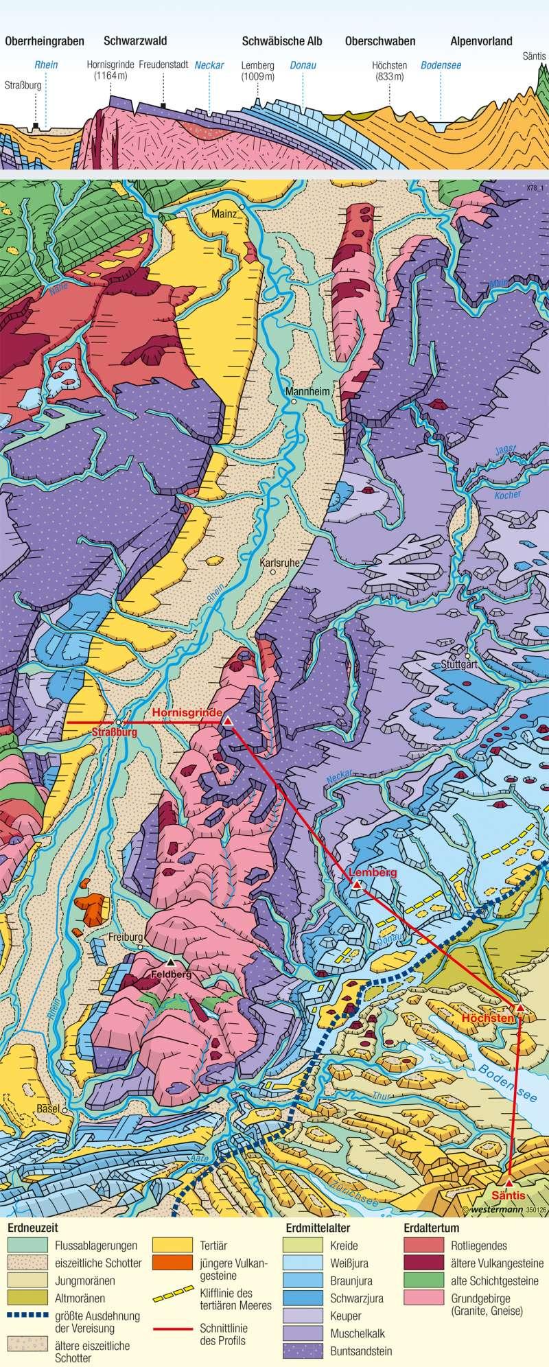 Oberrheingraben und Schichtstufenland | Landschaftsbild | Deutschland - Naturraum | Karte 53/2