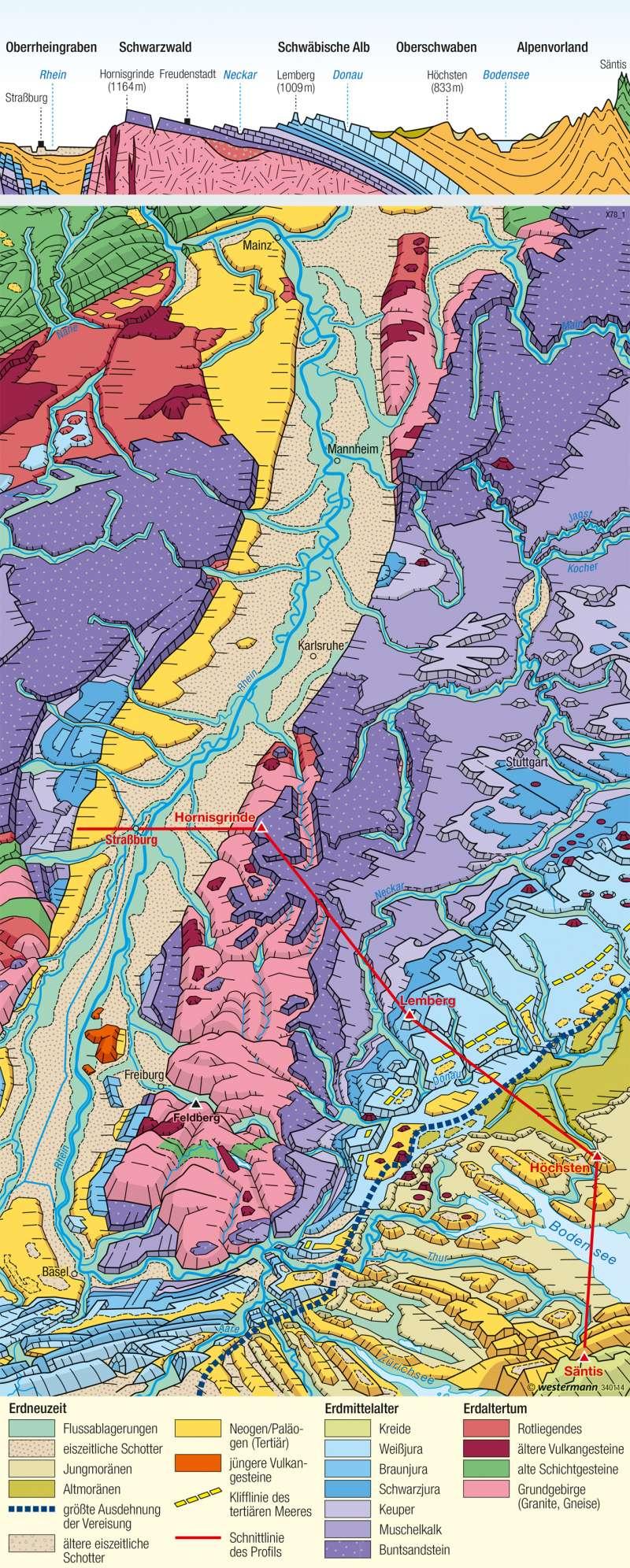 Oberrheingraben und Schichtstufenland   Landschaftsbild   Geologie   Karte 31/2