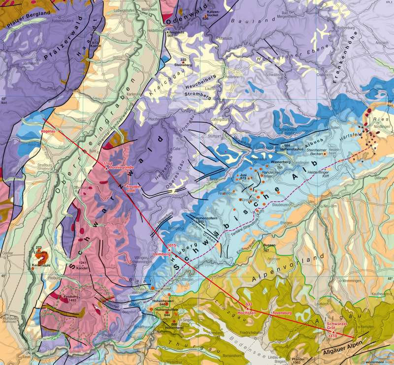 geologische karte baden württemberg Diercke Weltatlas   Kartenansicht   Baden Württemberg   Geologie  geologische karte baden württemberg