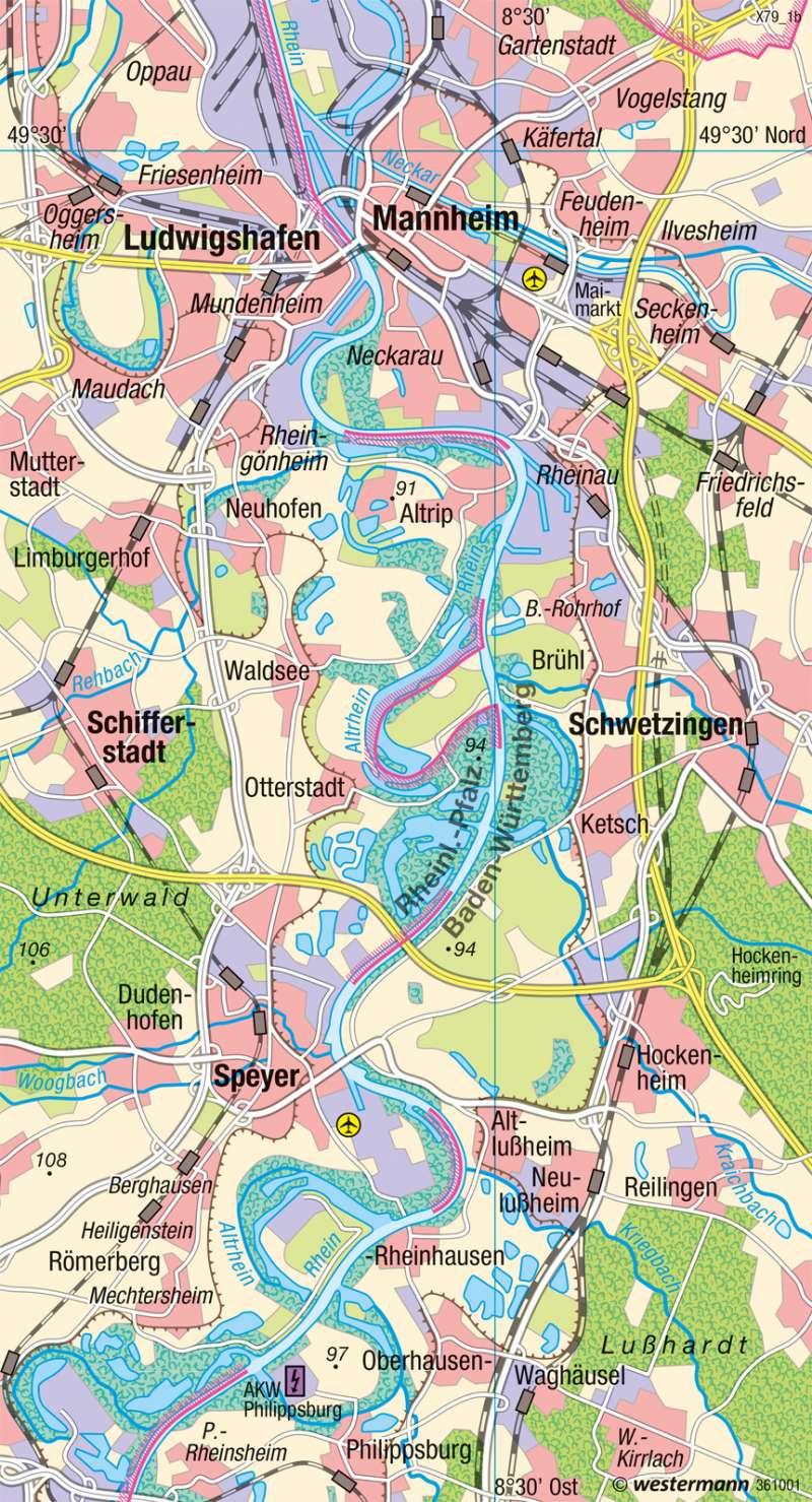 Oberrhein | Flussbegradigung | Deutschland - Umwelt und Klimawandel | Karte 61/6