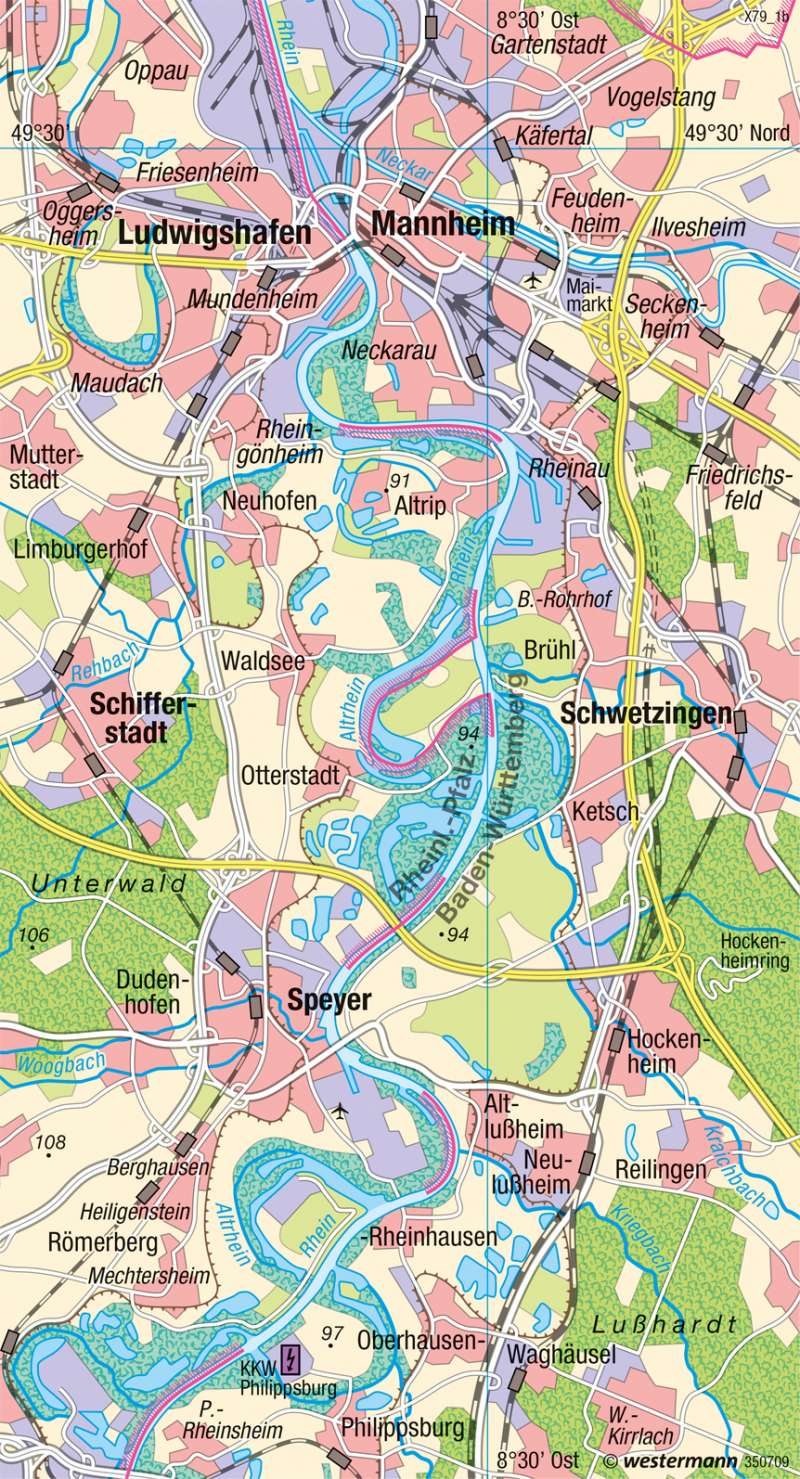 Oberrhein | Flussbegradigung | Umwelt und Naturgefahren | Karte 32/3
