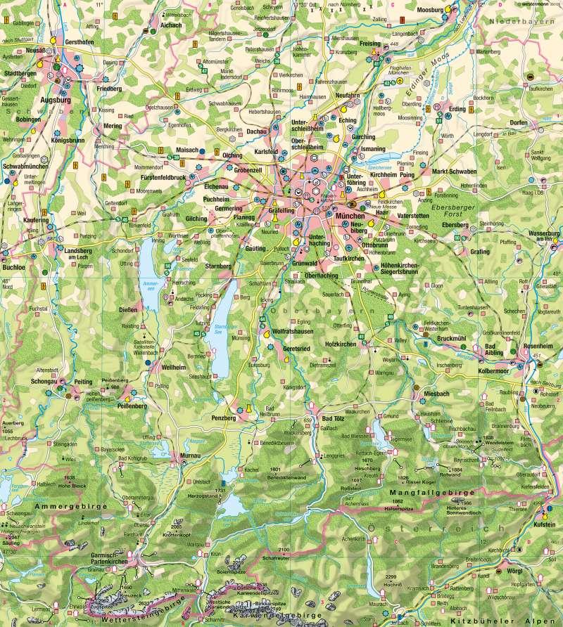 Metropolregion München | Wirtschaft/Naherholungsraum | München und Alpenvorland | Karte 50/1