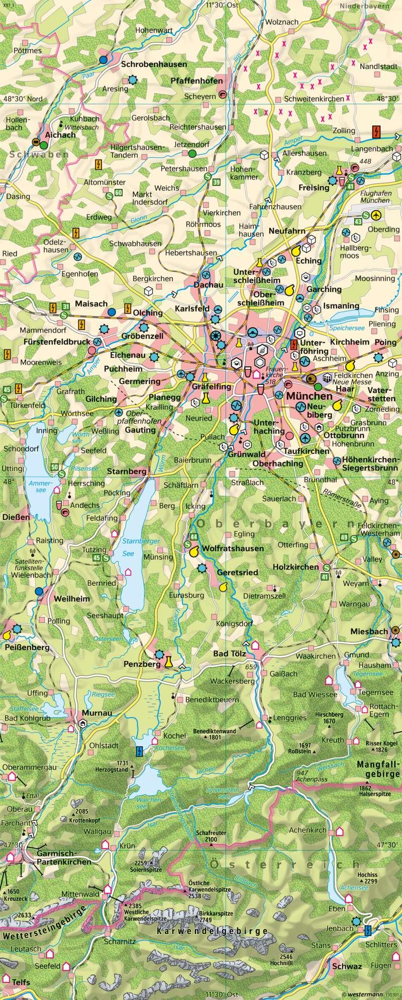 München und Alpenvorland | Einführung in die Wirtschaftskarte | Deutschland - Wirtschaft | Karte 89/2