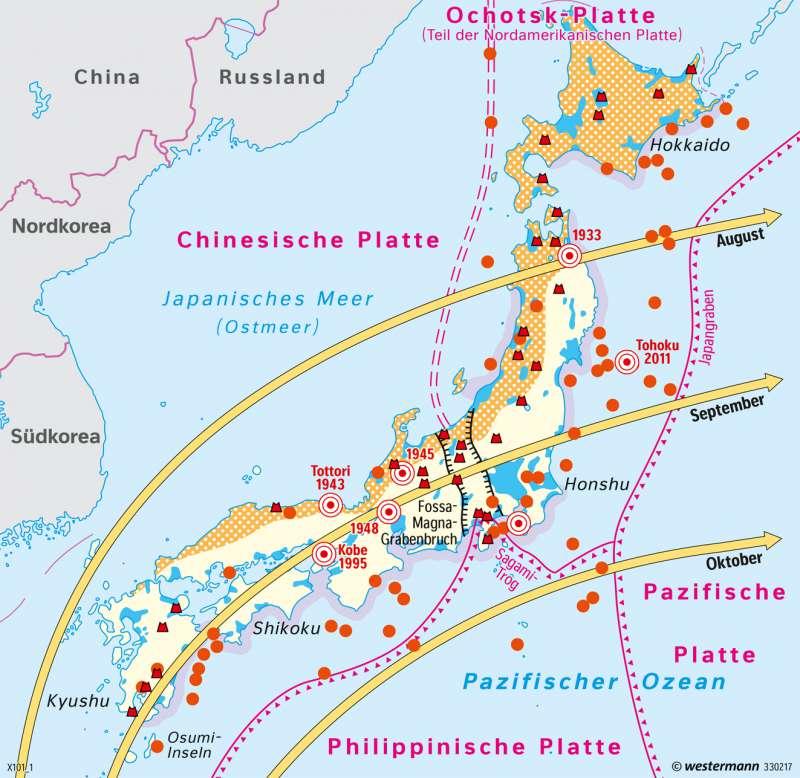 Japan   Naturrisiken   Japan - Naturrisiken und Wirtschaft in einem Industrieland   Karte 168/2