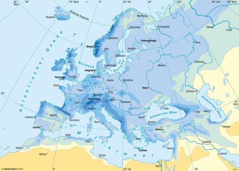 Europa | Niederschläge im Jahr | Europa - Klima | Karte 95/3