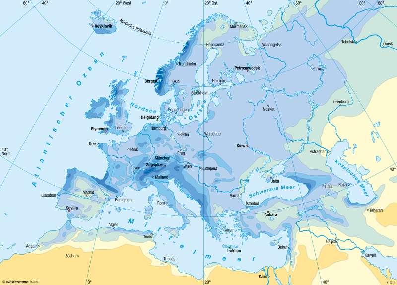 Europa | Niederschläge im Jahr | Klima | Karte 59/3