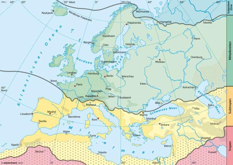 Europa | Klimazonen (nach A. Siegmund und P. Frankenberg) | Europa - Klima | Karte 115/5