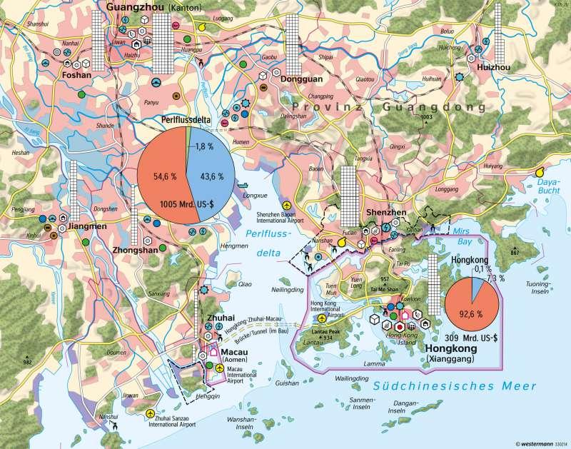 Perlflussdelta (Südost-China) | Verstädterung und Wirtschaftswachstum | China | Karte 166/1