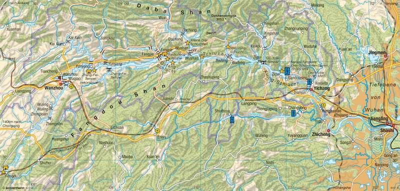 Jangtsekiang | Drei-Schluchten-Projekt | China - Raum- und Siedlungsentwicklung | Karte 189/6