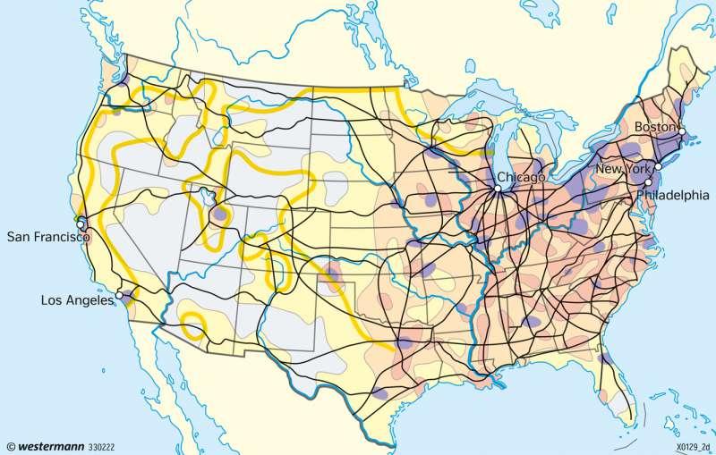 USA | Europäische Siedlungsgrenze (Frontier) | USA - Entwicklung zum Einwanderungsland | Karte 223/1