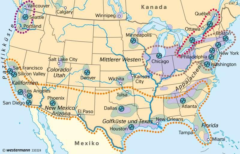 USA   Hauptwirtschaftsräume   Vereinigte Staaten (USA) und Mittelamerika - Wirtschaft   Karte 220/2