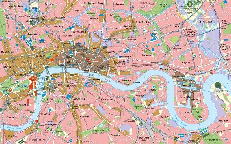 Karte London.Diercke Weltatlas Kartenansicht London Innenstadt Und East End